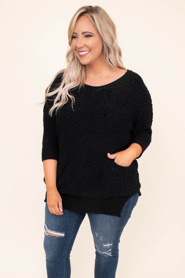 sweater, three quarter sleeve, pockets, side slits, fitted, long, black, comfy, fall, winter