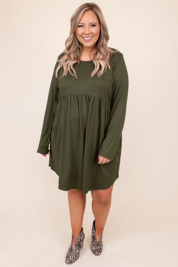 dress, basic dress, babydoll dress, green, olive, solid, long sleeve