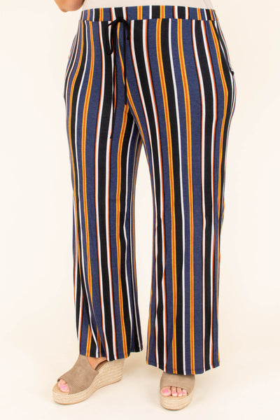Slip Into Stripes Pants, Navy-Black