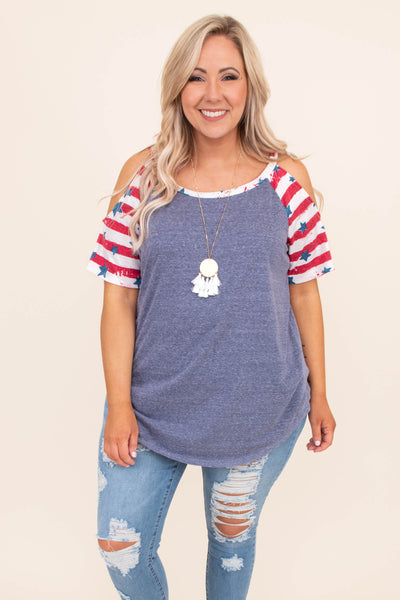 shirt, short sleeve, cold shoulder, curved hem, long, loose, blue, heathered, print sleeves, red, white, stars, striped, comfy