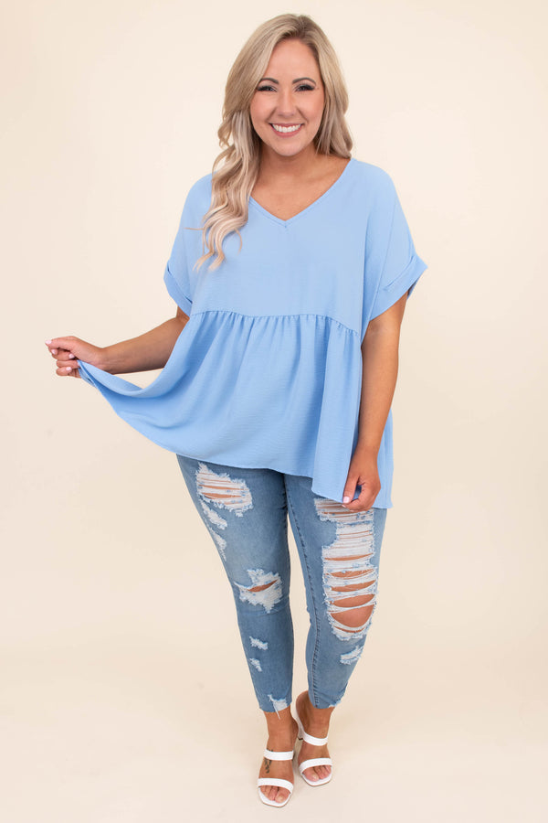 shirt, short sleeve, vneck, babydoll, long, flowy, cuffed sleeves, blue, comfy