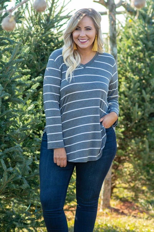 top, long sleeve, charcoal, stripe, white, flowy, curved hem, v neck