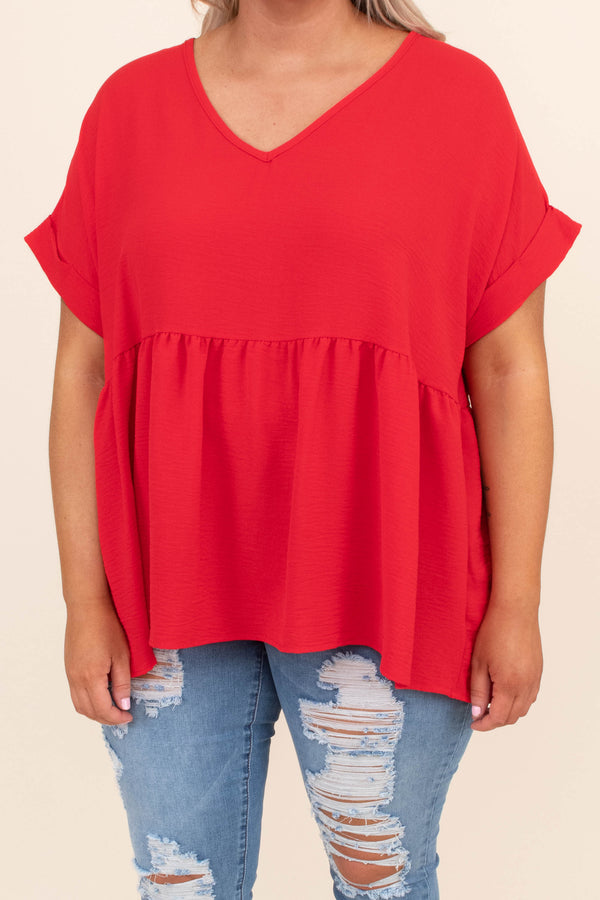 shirt, short sleeve, vneck, babydoll, longer back, flowy, red, comfy