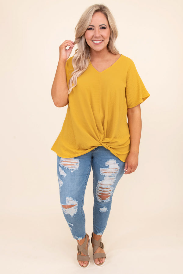 blouse, short sleeve, vneck, twisted hem, longer back, loose, mustard, comfy