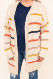 cardigan, long sleeve, long, flowy, taupe, orange, mustard, tan, navy, striped, comfy, outerwear