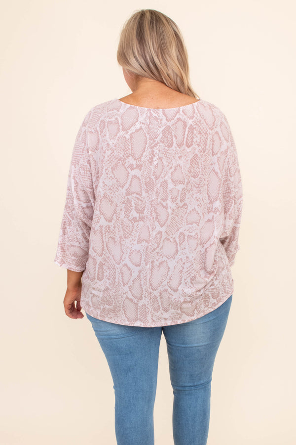shirt, three quarter sleeve, loose, mauve, white, snakeskin, comfy