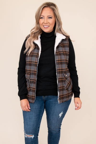 top, vest, grey, plaid, sleeveless, fuzzy, zip up, layer, warm, winter