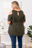 shirt, short sleeve, cold shoulder, ruffle top, curved hem, loose, olive, comfy