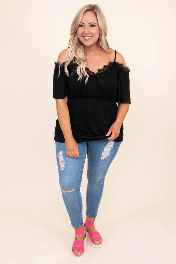 shirt, short sleeve, cold shoulder, spaghetti straps, vneck, fitted top, wrap top, loose bottom, lace details, black, comfy