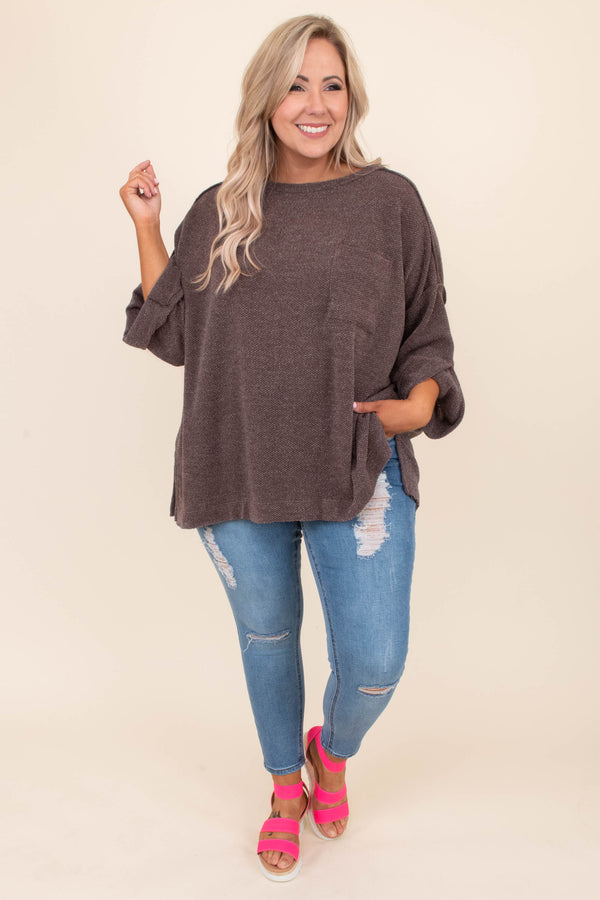 top, casual top, three quarter sleeve, brown