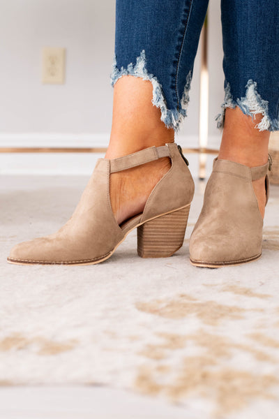booties, heel, close toed, closed heel, tie cutout, taupe