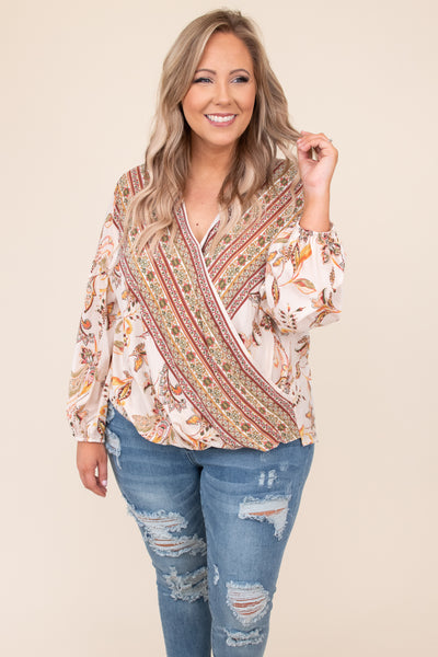 top, casual top, white, cream, floral, batwing, flattering, casual. long sleeve