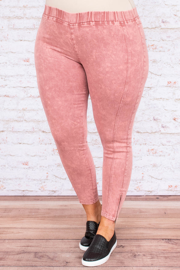 jeggings, long, zipper side, stitched, pink, comfy, skinny