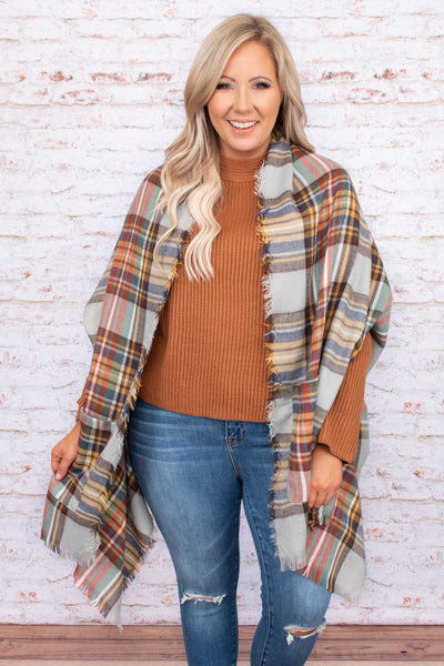 oversized, layering, pattern, plaid, raw hem, neutral, fall, shawl, trendy, comfy