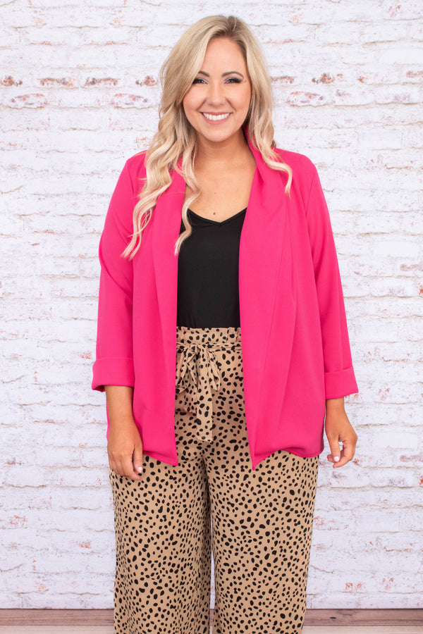 jacket, long sleeve, blazer style, relaxed, open front, loose, pink, comfy, outerwear
