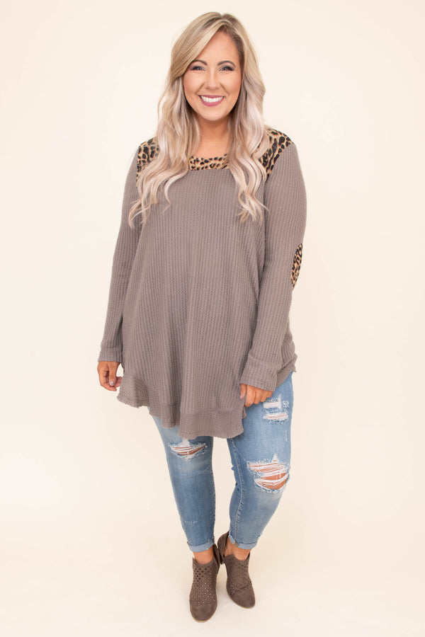 shirt, long sleeve, long, side slits, curved hem, elbow patches, ribbed, flowy, taupe, leopard neckline, comfy, fall, winter