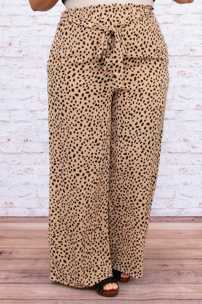 pants, long, wide leg, ruched waist, high waist, tie waist, taupe, black, leopard, comfy