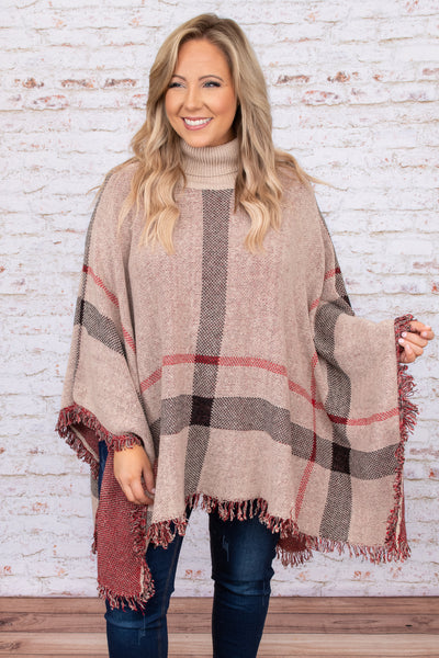 top, poncho, brown, taupe, plaid, long sleeve, turtleneck, red, black, warm, winter, layer