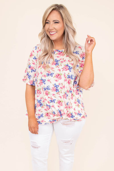 shirt, short sleeve, twist hem, short, longer back, loose, cream, floral, pink, purple, green, comfy, spring, summer