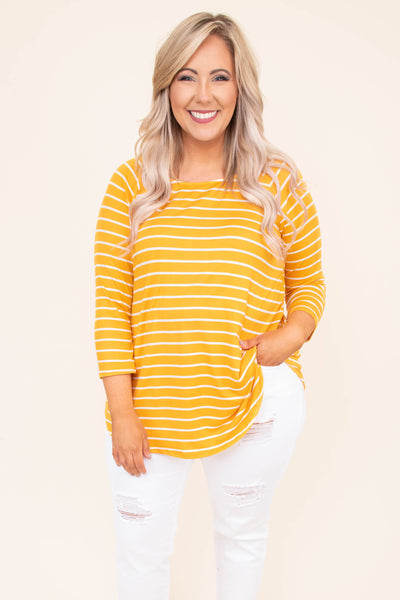 shirt, three quarter sleeve, curved hem, long, flowy, yellow, white, striped, comfy