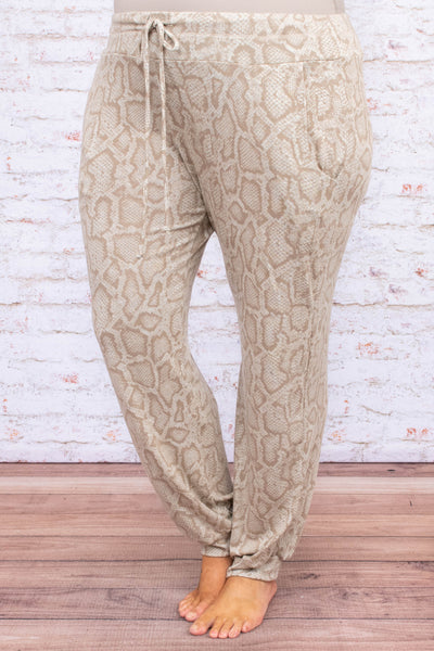pants, loungewear, long, pockets, drawstring waist, loose, sand, brown, snakeprint, comfy