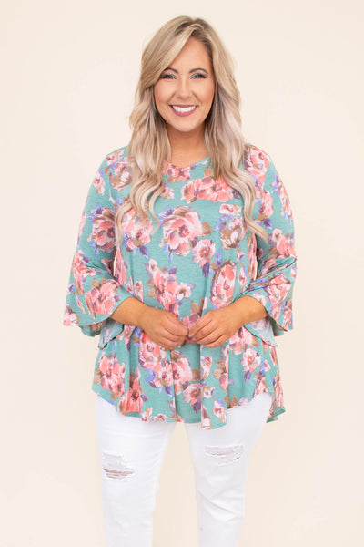 tunic, three quarter sleeve, bell sleeves, curved hem, long, flowy, mint, floral, coral, purple, comfy, spring