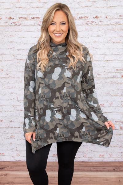 top, casual, gray, grey, green, brown, camo, camoflauge, long sleeve, turtleneck