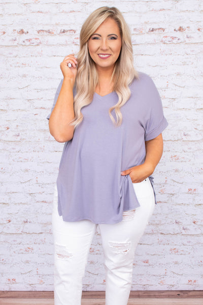 shirt, short sleeve, cuffed sleeves, vneck, loose, comfy, lavender