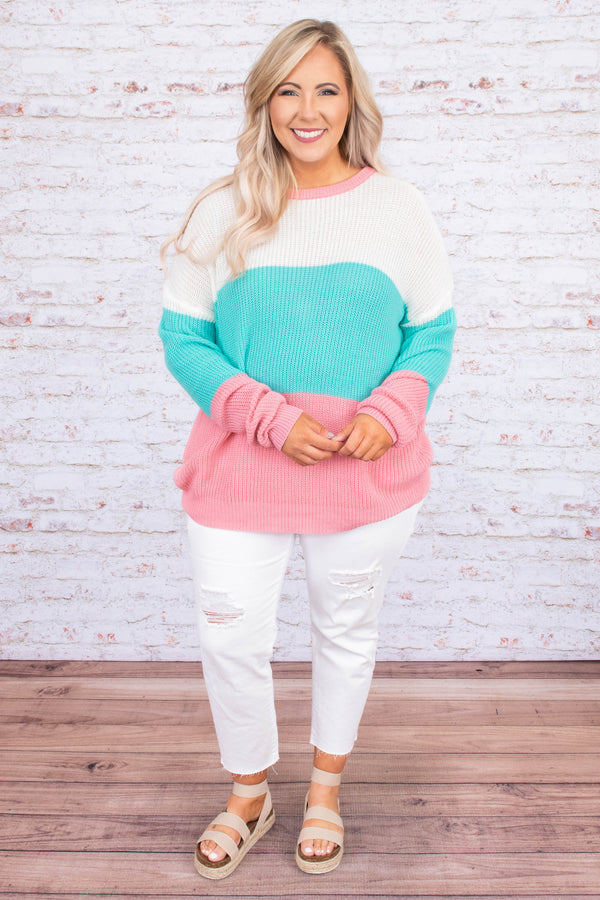 sweater, long sleeve, loose, cable knit, white, mint, coral, colorblock, comfy, fall, winter