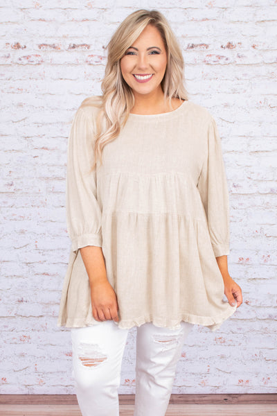 shirt, three quarter sleeve, babydoll, flowy, ruffle hem, bubble sleeves, longer back, back slit, oatmeal, comfy