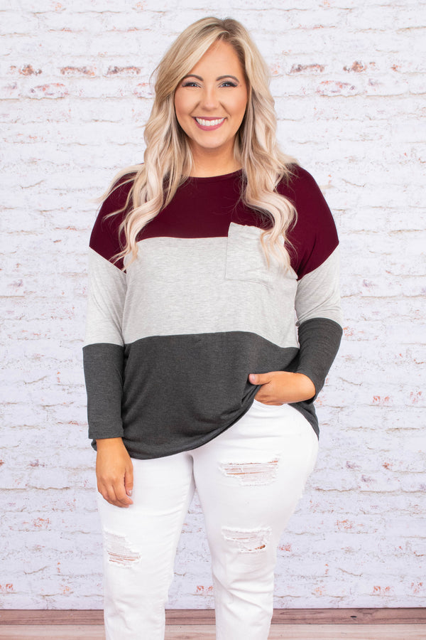 shirt, long sleeve, chest pocket, long, curved hem, burgundy, gray, charcoal, colorblock, comfy, fall, winter