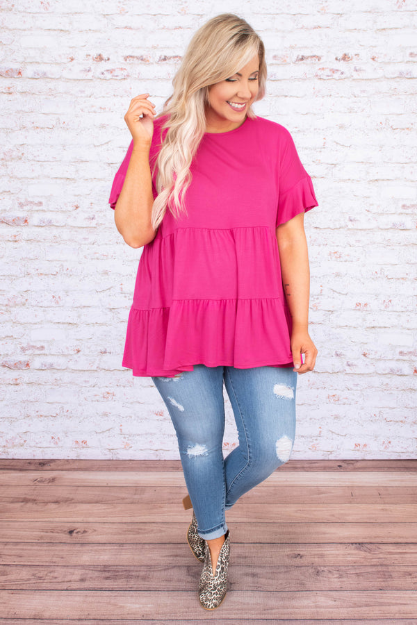 tunic, short sleeve, ruffle sleeves, babydoll, flowy, tiered, long, hot pink, comfy