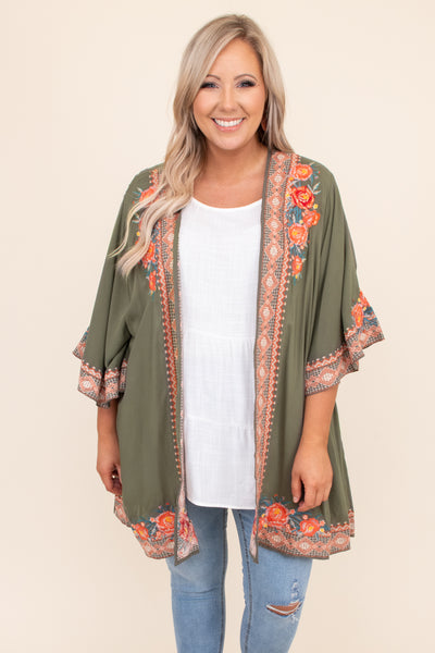 kimono, embroidered, open front, short sleeve, long, above the knee, olive, flowy, figure flattering