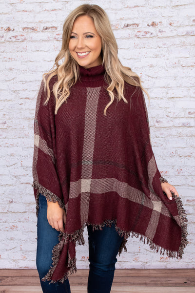 top, poncho, burgundy, red, plaid, turtleneck, long sleeve, layer, winter, warm