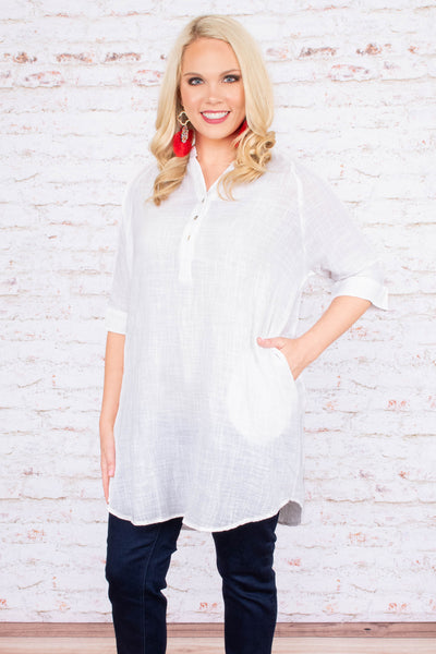 tunic, white, top, half-sleeve, summer