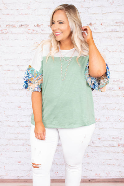 shirt, short sleeve, bell sleeves, ruffles, short, green, white, colorblock, floral sleeves, blue, comfy
