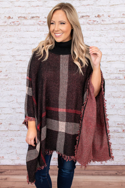 top, poncho, black, plaid, red, turtleneck, layer, long sleeve, warm, winter