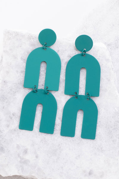 earrings, dangly, arches, metal, teal, long