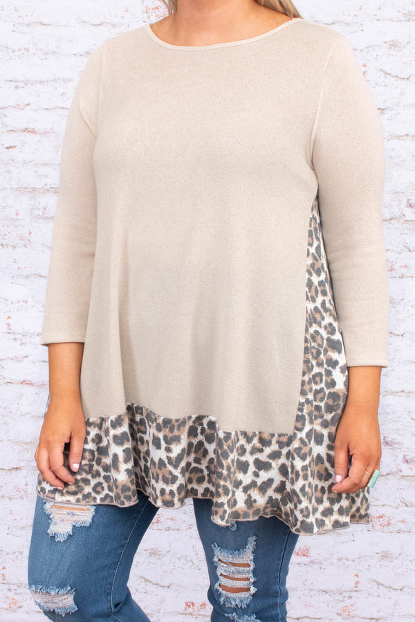 tunic, three quarter sleeve, long, loose, taupe, leopard hem, brown, black, comfy