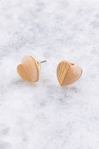 earrings, studs, hearts, split material, gold, rose