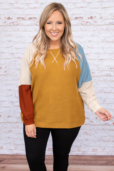 top, casual top, yellow, blue, red, mustard, colorblock, bubble sleeve