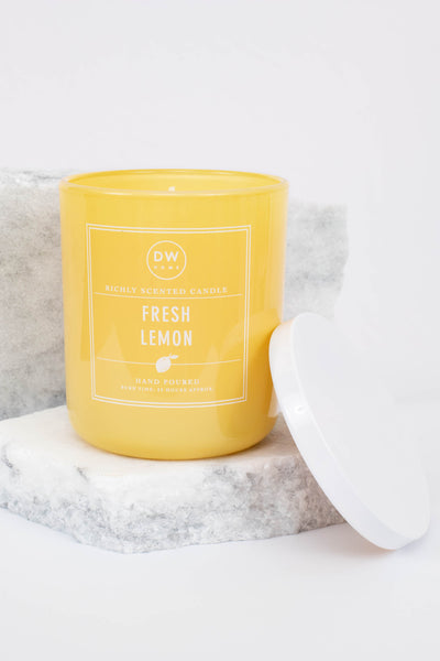 crisp, tart, sweet lemon, yellow, fresh lemon, single wick, scent, glass jar, white top
