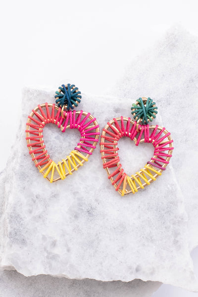 earrings, dangly, large, hearts, stitched design, gold, green, red, pink, yellow