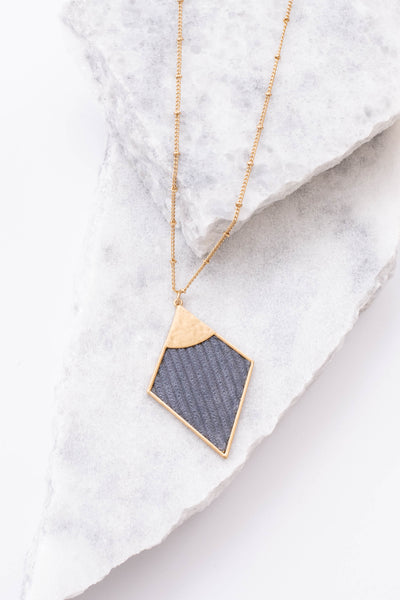 necklace, long chain, gold, gray pendant, diamond pendant, textured