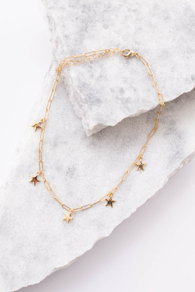 necklace, choker, linked chain, star pendants, gold