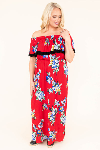 dress, maxi, red, off the shoulder, ruffle, floral, blue, white, black trim