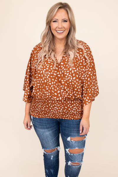 top, shirt, blouse, red, clay, cream, leopard, three quarter sleeve, flattering, casual