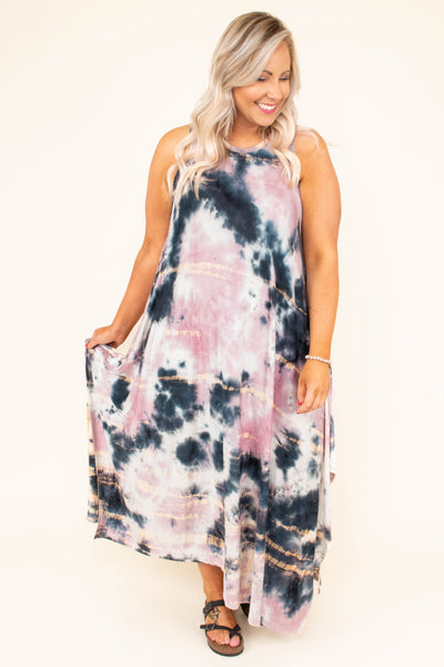dress, maxi dress, tank, tie-dye, mauve, navy, white, gold, high neck