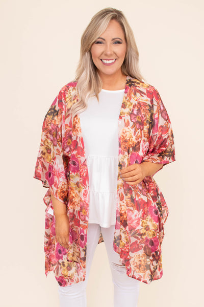 kimono, three quarter sleeve, long, flowy, floral, pink, gold, white, spring, summer