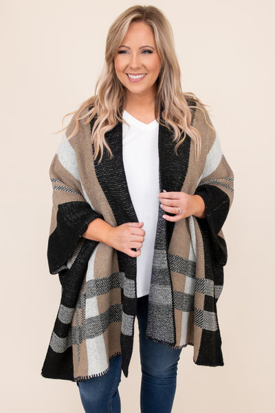 top, cardigan, brown, mocha, black, plaid, warm, winter, layer